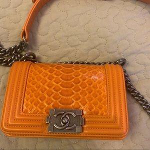 Chanel boy mini orange